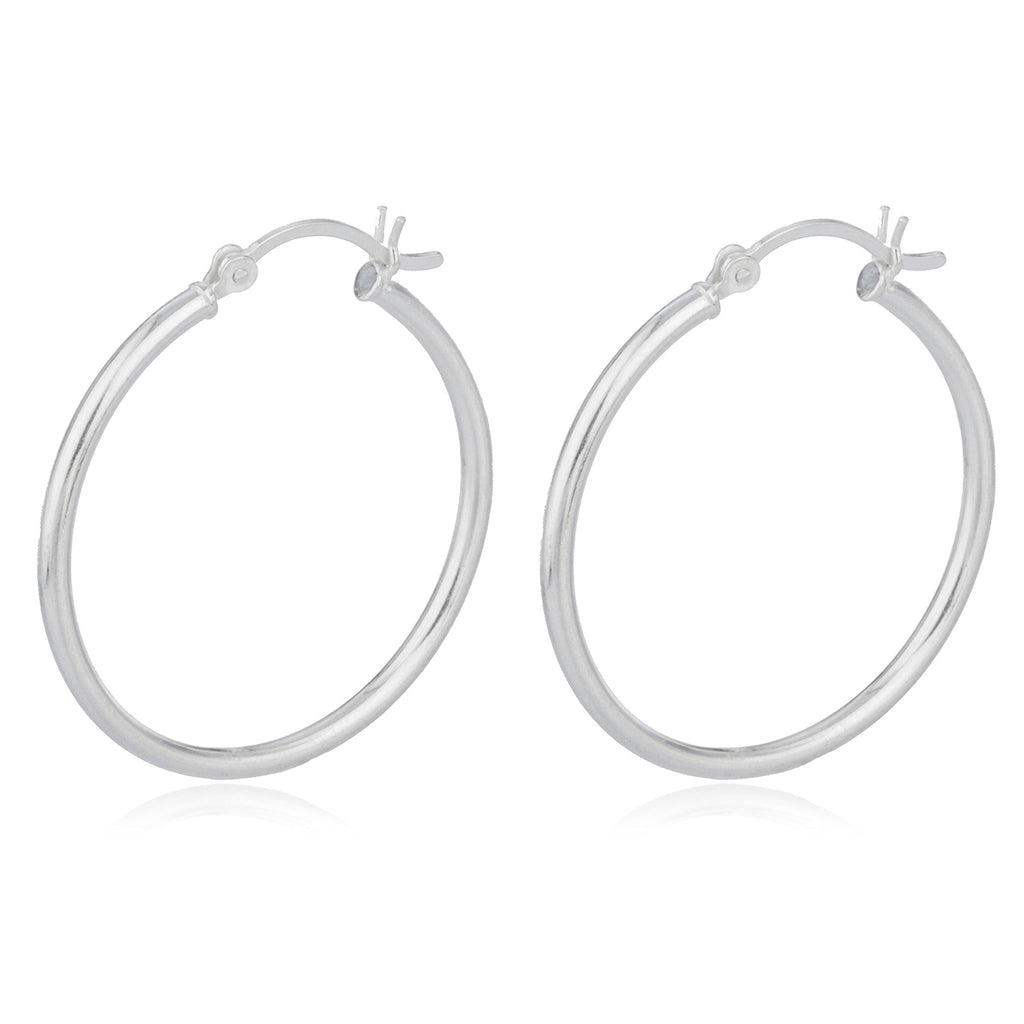 Real 925 Sterling Silver 2mm Hoop...