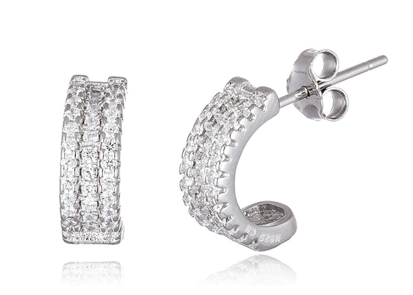 Real 925 Sterling Silver 3 Row Cz Huggie Hoop Earrings