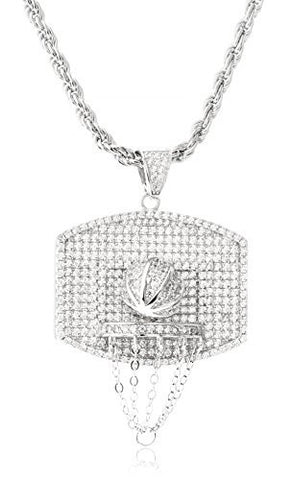 Real 925 Sterling Silver 3D Basketball And Hoop Pendant With Clear Cz Stones And A 3mm 24 Inch Rope Necklace (rhodium-plated-silver)