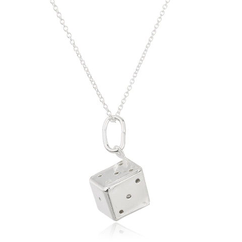 Real 925 Sterling Silver 3D Die Pendant With An 18 Inch Link Necklace