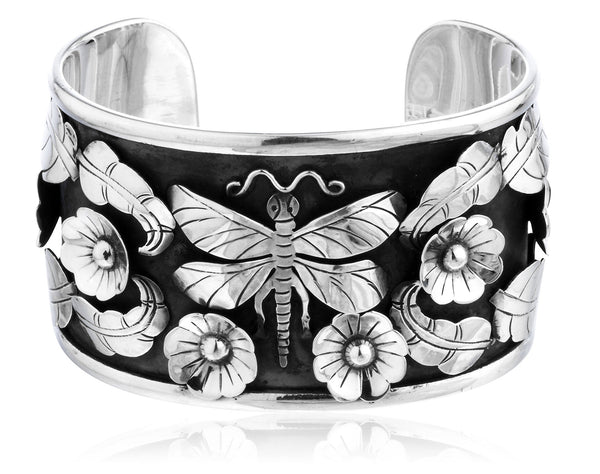 Real 925 Sterling Silver 3D Floral, Leaves And Dragonfly Solid Cuff Bangle Bracelet