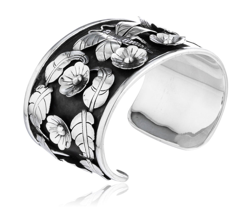 Real 925 Sterling Silver 3D Floral,...