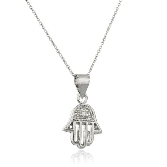 Real 925 Sterling Silver 3D Hamsa Hand Pendant With Cubic Zirconia And An 18 Inch Link Necklace