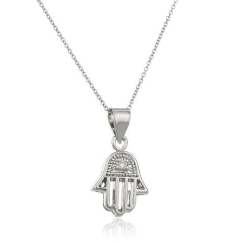 Silver Hamsa Hand Pendant With Cubic Zirconia Link Necklace