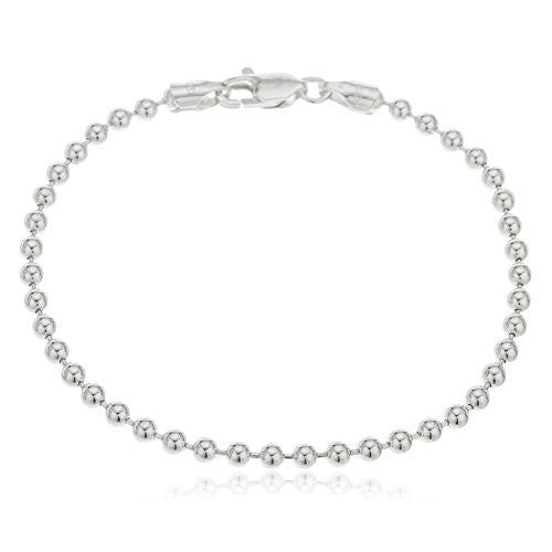 Real 925 Sterling Silver 3mm Ball Bead Chain - Made In Italy (9 Inches)