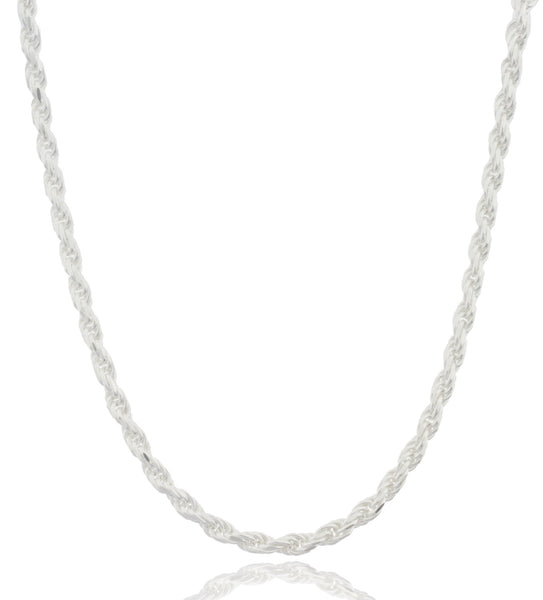 Real 925 Sterling Silver 4mm 24 Inch Rope Chain