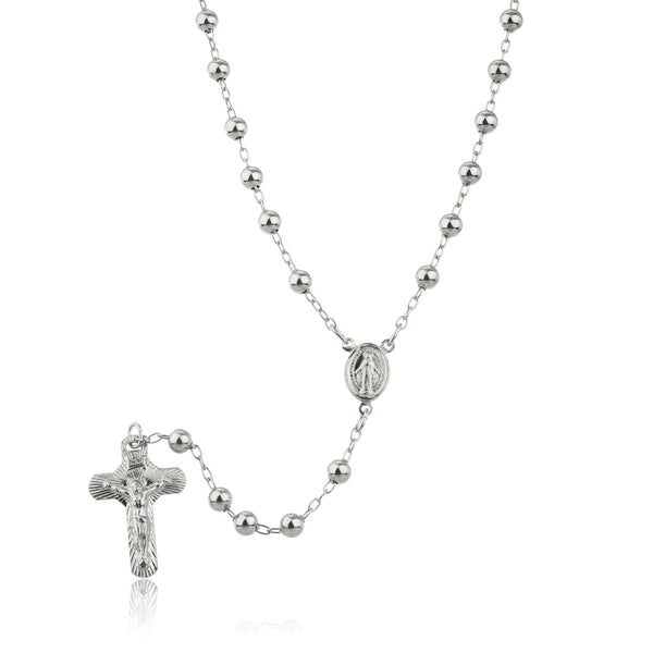 Real 925 Sterling Silver 4mm 30 Inch Beaded Rosary Necklace With Dangling Cross