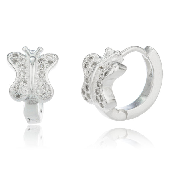 Real 925 Sterling Silver .5 Inch (13mm) Huggie Hoop Butterfly Earrings With Cubic Zirconia