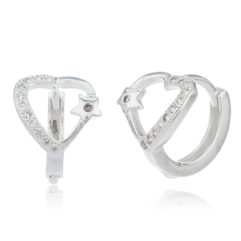 Real 925 Sterling Silver .5 Inch (13mm) Huggie Hoop Heart Earrings With Mini Star Cubic Zirconia