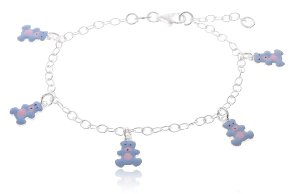 Real 925 Sterling Silver 6-7 Inch Adjustable Link Chain With Blue Teddy Bear Charms Bracelet