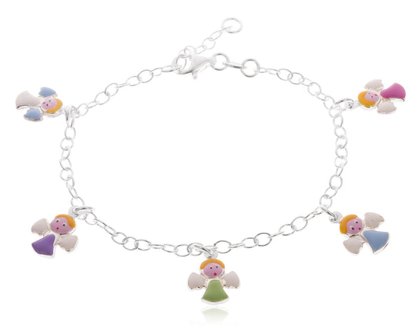 Real 925 Sterling Silver 6-7 Inch Adjustable Link Chain With Multicolor Angel Charms Bracelet