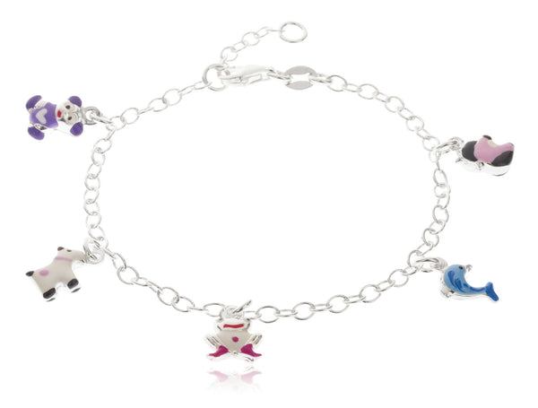 Real 925 Sterling Silver 6-7 Inch Adjustable Link Chain With Multicolor Animal Collection Charms Bracelet