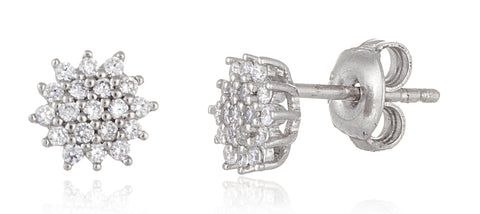 Real 925 Sterling Silver 6mm Cz Flower Stud Earrings