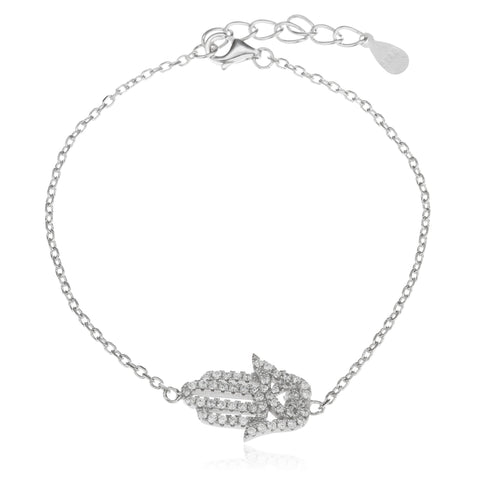 Real 925 Sterling Silver 7.5 Inch Hamsa Link Chain Bracelet With Mini Heart Clear Cz Stones