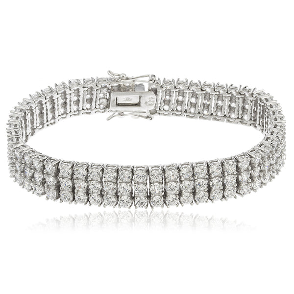 Real 925 Sterling Silver 7.5 Inch Three Row Bridal Style Bracelet With Multiple CZ Stones