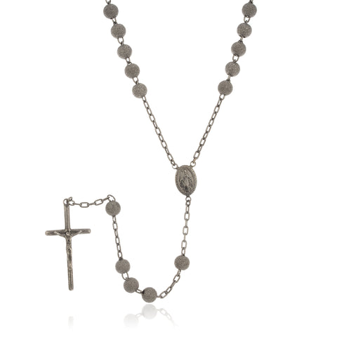 Real 925 Sterling Silver 7mm 32 Inch Hematite Frosted Sandblast Beaded Rosary Necklace With Dangling Cross