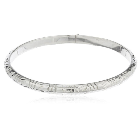 Real 925 Sterling Silver 7mm 8 Inch Textured D-cut Design Bangle With Clasp And Chain
