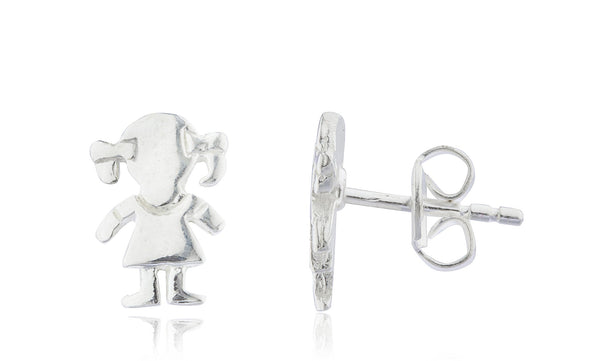 Real 925 Sterling Silver 7mm Girl With Pig Tails Children's Stud Earrings
