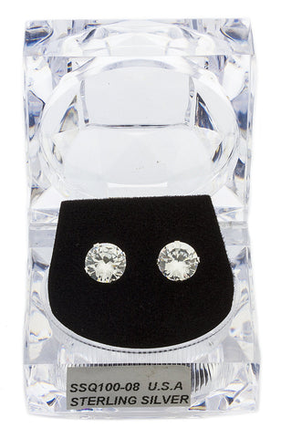 Real 925 Sterling Silver 8mm Or 9mm Four Prong Round Cubic Zirconia Stud Earrings (8 Millimeters)