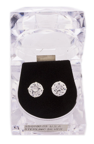 Real 925 Sterling Silver 8mm Or 9mm Four Prong Round Cubic Zirconia Stud Earrings (9 Millimeters)