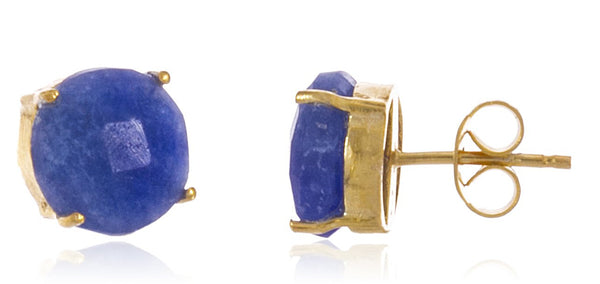 Real 925 Sterling Silver 8mm Semi Precious Stone Stud Earrings (Goldtone/Blue)
