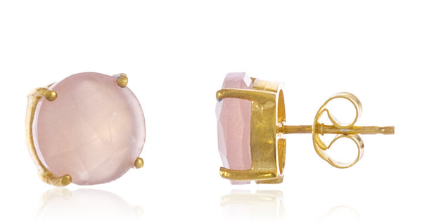 Real 925 Sterling Silver 8mm Semi Precious Stone Stud Earrings (Goldtone/Pink)