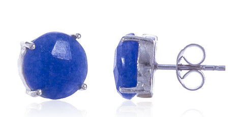 Real 925 Sterling Silver 8mm Semi Precious Stone Stud Earrings (Silver/Blue)