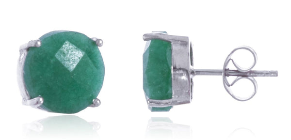Real 925 Sterling Silver 8mm Semi Precious Stone Stud Earrings (Silver/Green)