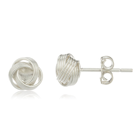 Real 925 Sterling Silver 8mm Smooth Love Knot Design Earrings