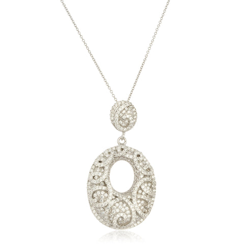 Real 925 Sterling Silver Abstract Symbol Pendant With Cubic Zirconia Stones And An 18 Inch Link Necklace