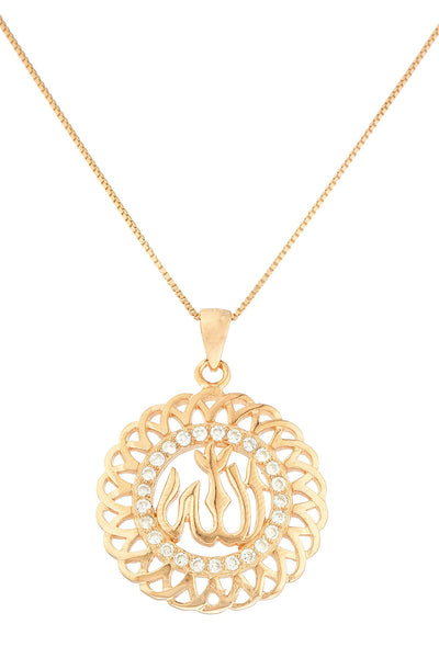 Real 925 Sterling Silver Allah Bordered Circle Pendant With Cz Stones And An 18 Inch Box Necklace - Available In 3 Colors (Rose-Gold Plated Silver)