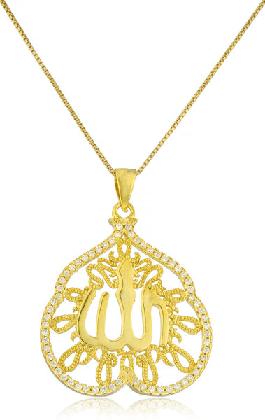 Real 925 Sterling Silver Allah Bordered Leaf Shape Pendant With Cz Stones And An 18 Inch Box Necklace - Available In 3 Colors (Yellow-Gold Plated Silver)