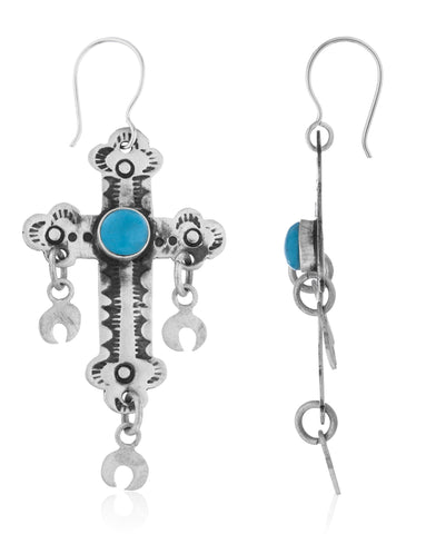 Real 925 Sterling Silver Antique Style Cross With Simulated Turquoise Stone Dangle Earrings