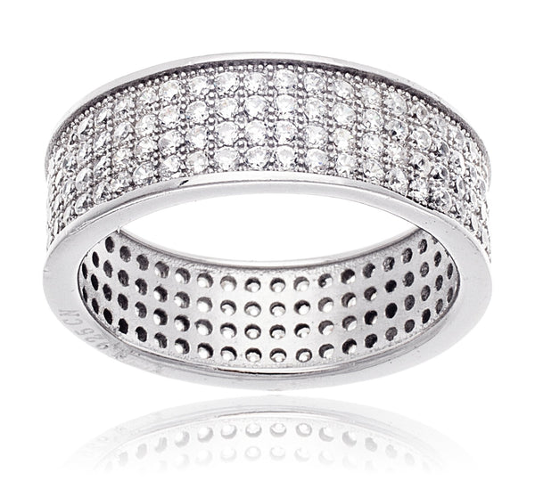 Real 925 Sterling Silver Band Ring With Cubic Zirconia (8)