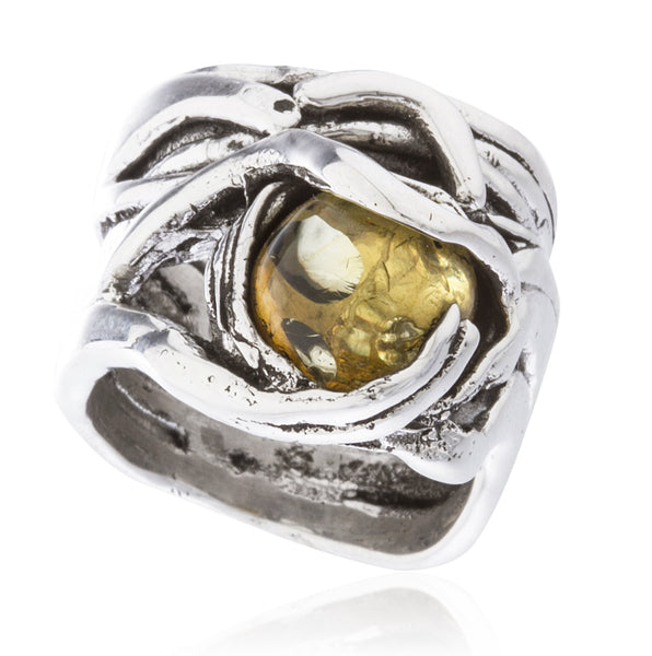 Real 925 Sterling Silver Basket Swirl Ring With Ball Stone (Amber / Size 7)