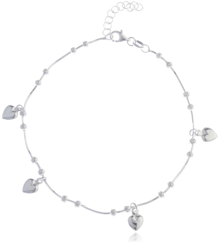 Real 925 Sterling Silver Beaded Heart Charms 9 Inch Adjustable Snake Chain Anklet