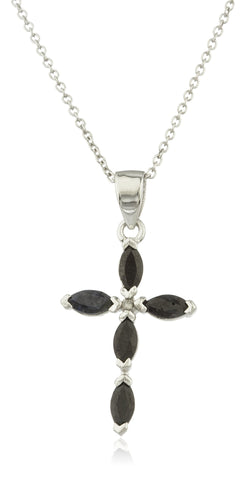 Real 925 Sterling Silver Black Simulated Stone Cross Pendant With An 18 Inch Link Necklace