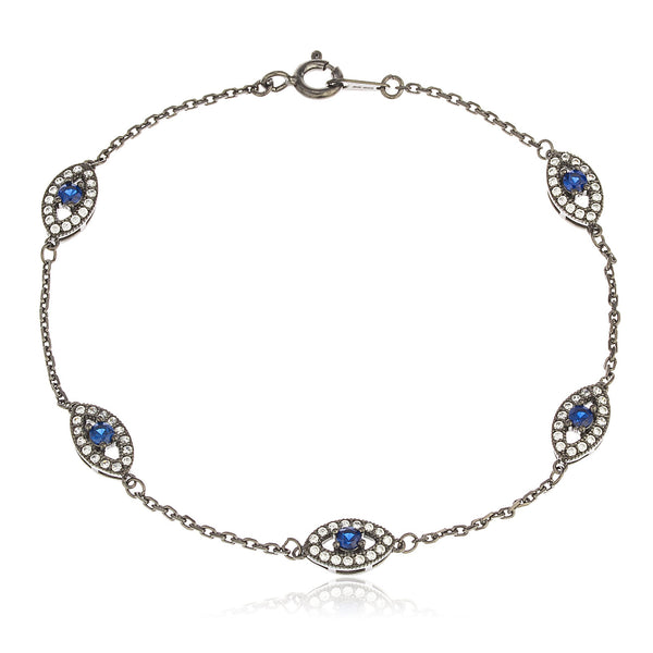 Real 925 Sterling Silver Black With Deep Blue Evil Eye Cz Charmed 7 Inch Bracelet