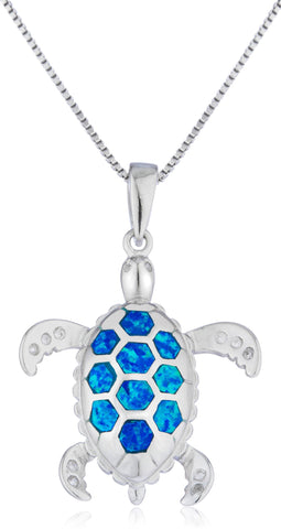 Real 925 Sterling Silver Blue Created Opal Turtle Pendant With An 18 Inch Box Chain Necklace