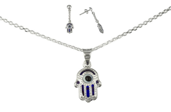 Silver Blue Hamsa Hand, Eye Pendant Necklace With Earrings Set