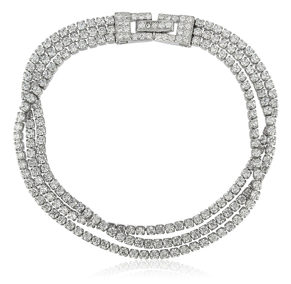 Real 925 Sterling Silver Bridal 3 Row Layered Tennis Bracelet With Stones (Rhodium Plated Silver)