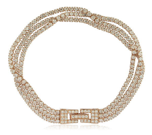 Real 925 Sterling Silver Bridal 3 Row Layered Tennis Bracelet With Stones (Rose Goldtone)
