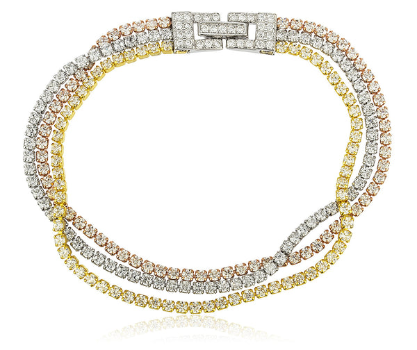 Real 925 Sterling Silver Bridal 3 Row Layered Tennis Bracelet With Stones (Tritone)
