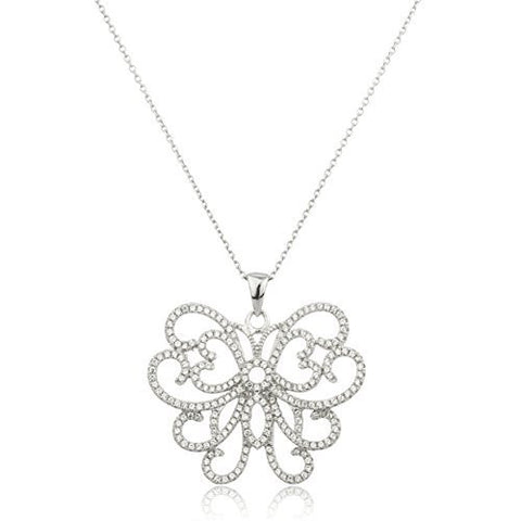 Real 925 Sterling Silver Butterfly Pendant With Clear Cz Stones And An 18 Inch Anchor Necklace