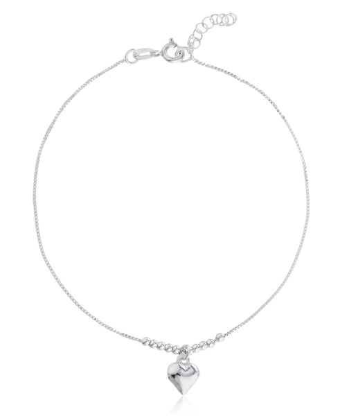 Real 925 Sterling Silver Center Beaded Heart Charm 9 Inch Box Anklet