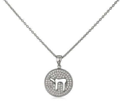 Real 925 Sterling Silver Chai Pendant With Cz Stones And A 16 Inch Adjustable Link Necklace
