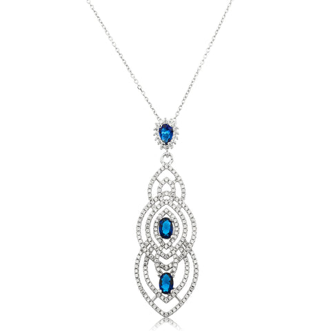 Real 925 Sterling Silver Chandelier Pendant With Blue Simulated Pearls, Cz Stones And An 18 Inch Anchor Necklace