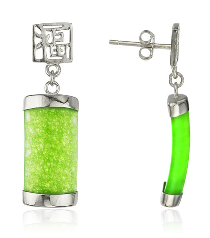 Real 925 Sterling Silver Chinese Jade Dangle Earrings