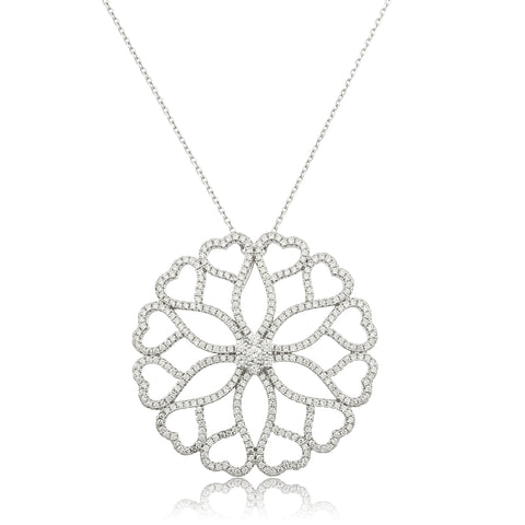 Real 925 Sterling Silver 'Circle Of Love' Pendant With Clear Cz Stones And An 18 Inch Anchor Necklace
