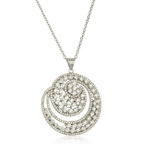 Real 925 Sterling Silver Circle Swirl Pendant With Clear Cz Stones And An 18 Inch Anchor Necklace